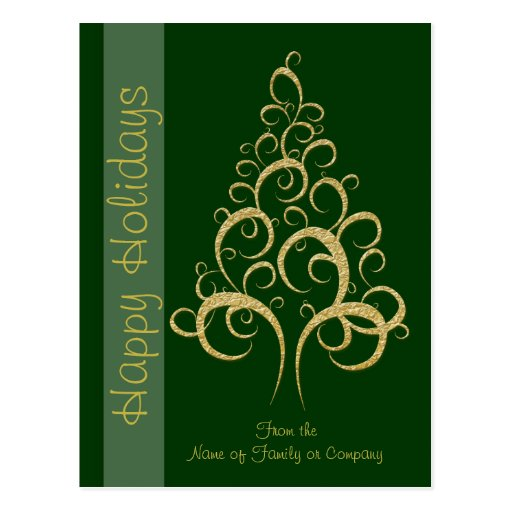 Christmas xmas gold elegant tree holiday wishes postcards for Elegant christmas card messages