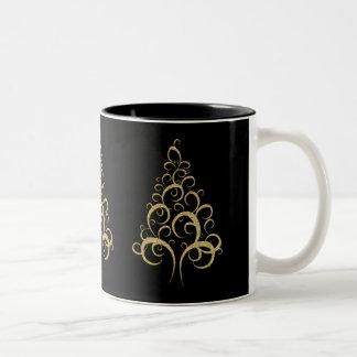 Christmas xmas gold elegant tree personal office coffee mugs