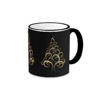 Christmas xmas gold elegant tree personal office mugs