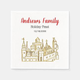 Christmas Xmas Heraldic Castle #2 Crest Faux Gold Disposable Serviette