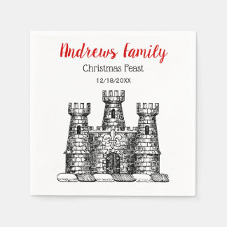 Christmas Xmas Heraldic Castle Emblem Crest C Disposable Napkin