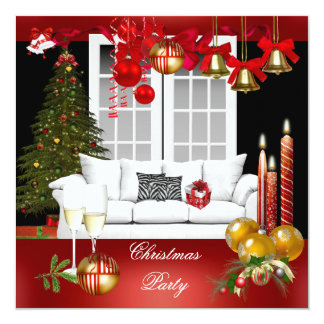 Christmas Xmas Holiday Party Red White Balls 13 Cm X 13 Cm Square Invitation Card