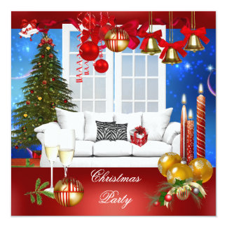 Christmas Xmas Holiday Party Red White Blue 13 Cm X 13 Cm Square Invitation Card