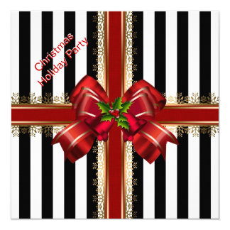 Christmas Xmas Holiday Party Red White Stripe Card