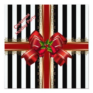 Christmas Xmas Holiday Party Red White Stripe 13 Cm X 13 Cm Square Invitation Card