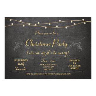 Christmas Xmas Holidays Party Gold Chalk Invite