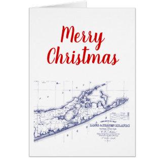 Christmas Xmas Long Island The Hamptons Map VC Card