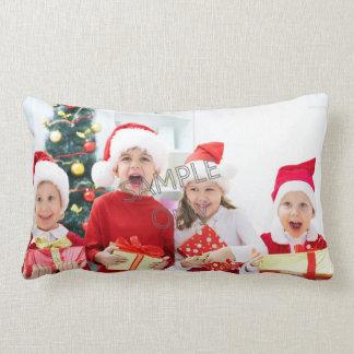 Christmas Xmas Photo Template 2 children family Lumbar Pillow