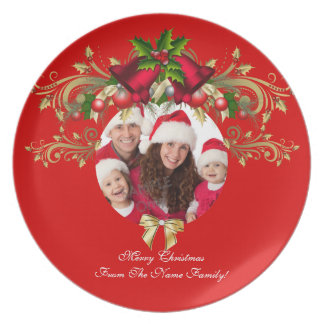 Christmas Xmas Photo Template 3 children family Plate