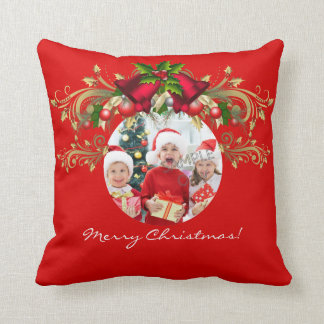 Christmas Xmas Photo Template 4 children family Cushion