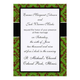 christmas xmas red green diamond damask custom invites