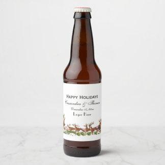 Christmas Xmas Santa Sleigh Reindeer Border Beer Bottle Label
