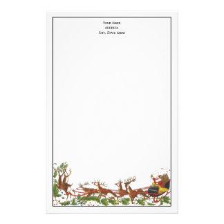 Christmas Xmas Santa Sleigh Reindeer Border Stationery