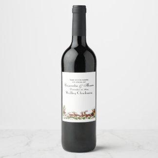 Christmas Xmas Santa Sleigh Reindeer Border Wine Label