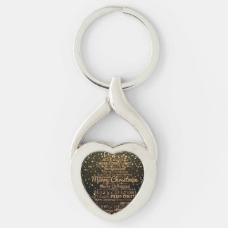 Christmas Xmas Silver-Colored Twisted Heart Key Ring