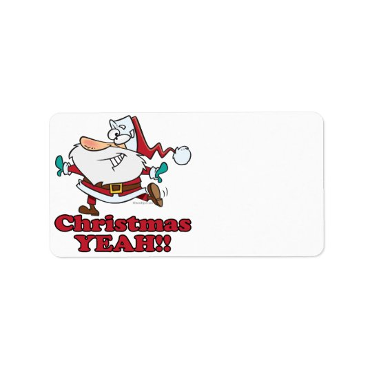 christmas YEAH funny dancing santa cartoon Label