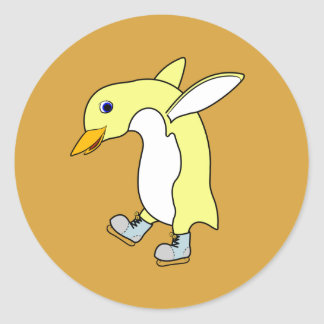 Christmas Yellow Penguin with Blue Ice Skates Round Sticker