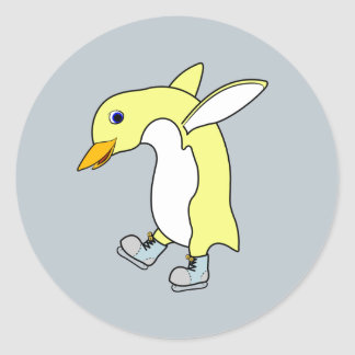 Christmas Yellow Penguin with Blue Ice Skates Round Sticker