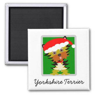 Christmas Yorkie Cartoon Santa Hat Magnet
