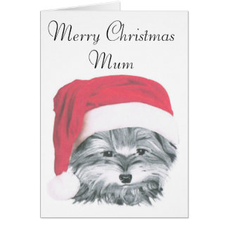Christmas Yorkie Dog, Merry Christmas Mum Card