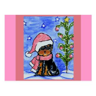 Christmas Yorkie Poo Postcard