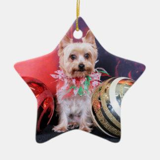 Christmas - Yorkie - Tasha Ornament