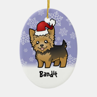 Christmas Yorkshire Terrier (add your pets name) Ceramic Oval Decoration