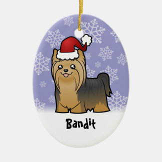Christmas Yorkshire Terrier add your pets name Ornaments
