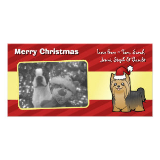Christmas Yorkshire Terrier (long hair no bow) Photo Card Template