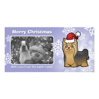 Christmas Yorkshire Terrier (long hair with bow) Photo Greeting Card