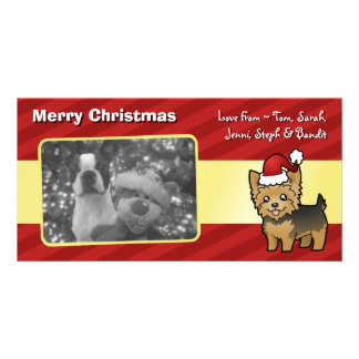 Christmas Yorkshire Terrier (short hair no bow) Personalised Photo Card