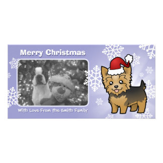 Christmas Yorkshire Terrier (short hair with bow) Customized Photo Card