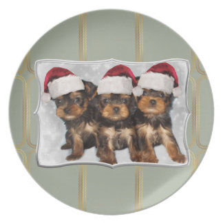 Christmas Yorkshire terriers dinner plate