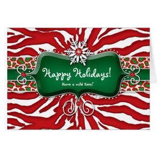 Christmas Zebra Leopard Snowflake Ruby Card