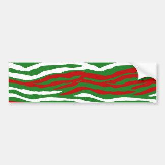 Christmas Zebra Stripes Bumper Stickers