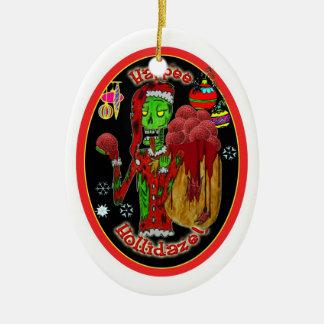 christmas zombie ornament_oval ceramic ornament