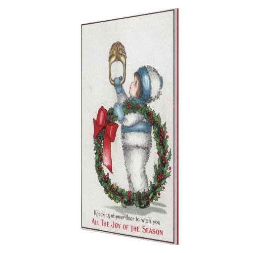 ChristmasKid Holding Wreath Knocking Gallery Wrapped Canvas