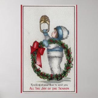 ChristmasKid Holding Wreath Knocking Poster