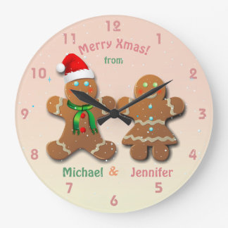Christmassy Gingerbread Man and Gingerbread Lady Large Clock