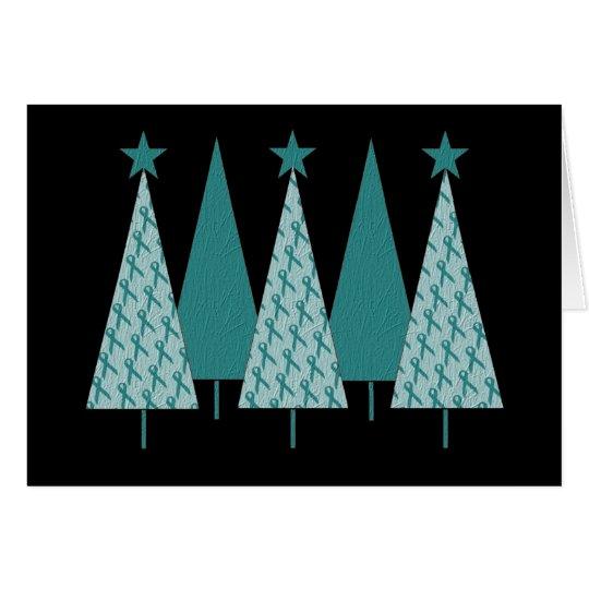 Christmast Trees Teal Ribbon - Ovarian Cancer Card