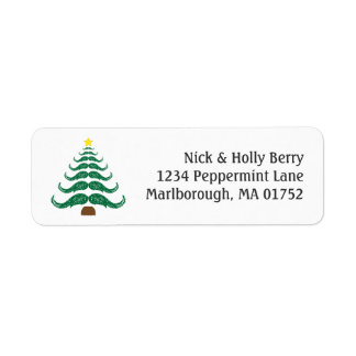 Christmastache Tree Return Address Label