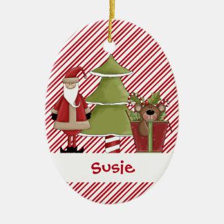 Christmastime Santa Tree Teddy Bear Gift Ceramic Oval Decoration