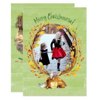 Christmoose Watercolor Greeting Card