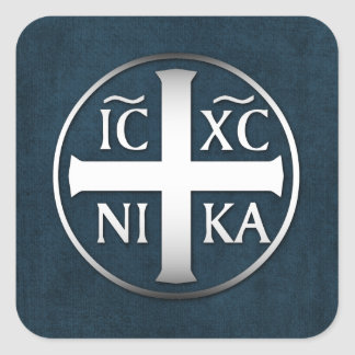 Christogram ICXC NIKA Jesus Conquers Square Sticker