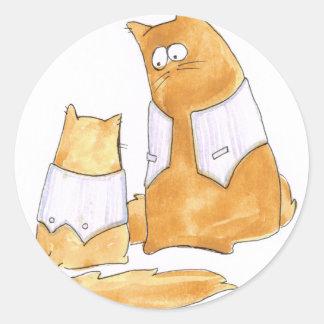 Christopher Cat & Hugh striped waistcoats Round Sticker