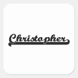 Christopher Classic Retro Name Design Square Sticker