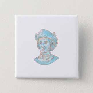 Christopher Colombus Explorer Bust Drawing 15 Cm Square Badge