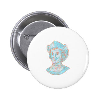 Christopher Colombus Explorer Bust Drawing 6 Cm Round Badge