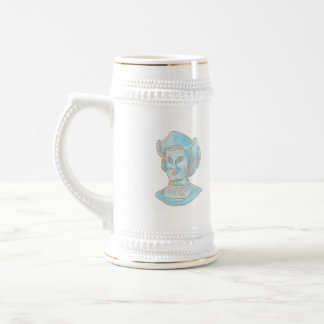 Christopher Colombus Explorer Bust Drawing Beer Stein
