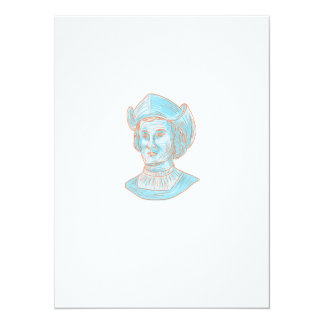 Christopher Colombus Explorer Bust Drawing Card